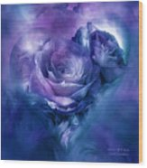 Heart Of A Rose - Lavender Blue Wood Print