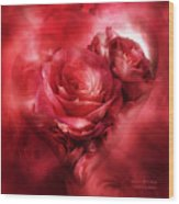 Heart Of A Rose - Red Wood Print