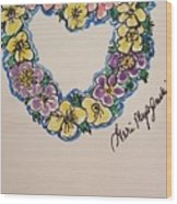 Heart Of Flowers Wood Print