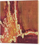 Heart On Fire Wood Print