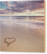 Heart On The Beach Wood Print by Elusive Photography