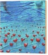 Heart Poppies Wood Print