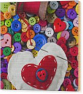 Heart Pushpin Chusion  Wood Print by Garry Gay
