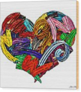 Heart Ribbons Wood Print