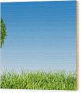 Heart Shape Tree On Green Grass Field Wood Print