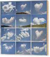Heart Shaped Clouds - Collage Wood Print