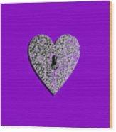 Heart Shaped Lock Purple .png Wood Print