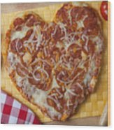 Heart Shaped Pizza Wood Print by Garry Gay