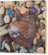 Heart Stone Among River Stones Wood Print by Garry Gay