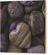 Heart Stone On River Rocks Wood Print