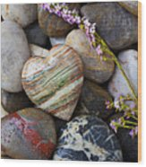 Heart Stone With Wild Flower Wood Print