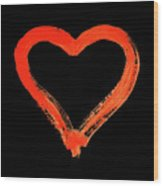 Heart - Symbol Of Love - Watercolor Painting Wood Print