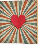 Heart With Ray Background Wood Print