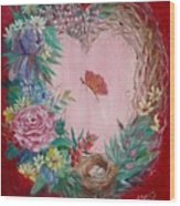 Heart Wreath Wood Print