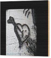 Heart Written In The Trees 3 Wood Print