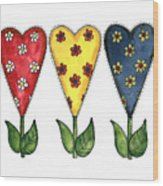 Hearts And Flowers Wood Print
