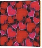Hearts Collage Wood Print