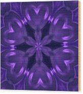 Hearts Of Purple Kaleidoscope Wood Print