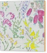Heather And Gorse Watercolor Illustration Pattern Wood Print