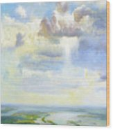 Heavenly Clouded Beauty Abstract Realism Wood Print
