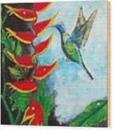 Heavenly Heliconia Wood Print
