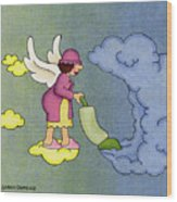 Heavenly Housekeeper Wood Print by Sarah Batalka