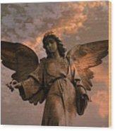 Heavenly Spiritual Angel Wings Sunset Sky  Wood Print by Kathy Fornal