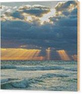 Heavenly Sunrise Panorama At Riviera Beach  Wood Print