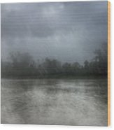 Heavy Rain Over A River Wood Print