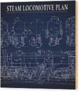 Heavy Steam Locomotive Blueprint Wood Print