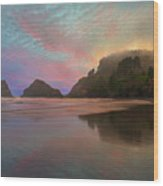 Heceta Head Lighthouse Foggy Sunset Wood Print