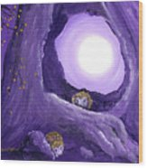 Hedgehogs In Purple Moonlight Wood Print