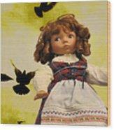Heidi And The Birds Wood Print