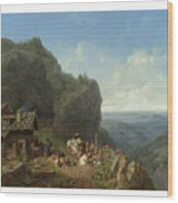 Heinrich Burkel 1802 - 1869 German Wirtshaus Auf Der Alm Mit Alpzug Tavern In The Alps Wood Print