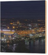Heinz Field At Night From Mt Washington Wood Print