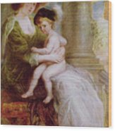 Helene Fourment And Her Son Frans Wood Print