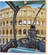Helicopter On Colosseo Wood Print