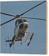 Helicopter On Final Approach  Wood Print