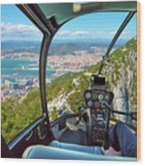 Helicopter On Gibraltar Rock Wood Print
