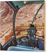 Helicopter On Monastery Of St Catherine Wood Print