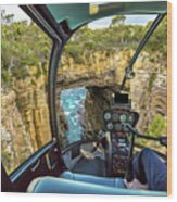 Helicopter On Tasman Arch Wood Print