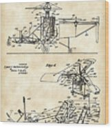 Helicopter Patent 1940 - Vintage Wood Print
