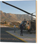 Helicopter Tours Of Cape Town And Table Mountain Wood Print by Andy Smy