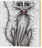 Hello Fuzzy Cat Wood Print