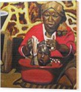 Help Lesotho Grandmother Wood Print