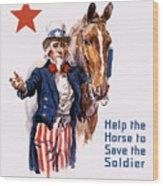 Help The Horse To Save The Soldier Wood Print