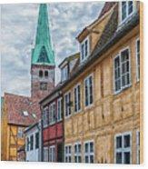 Helsingor Old Street Wood Print