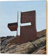 Helsinki Rock Church Cross Wood Print
