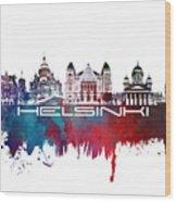 Helsinki Skyline City Blue Wood Print