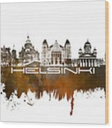 Helsinki Skyline City Brown Wood Print